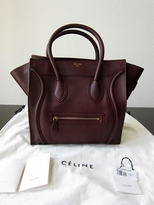 New celine burgundy mini luggage leather tote bag phantom original ...