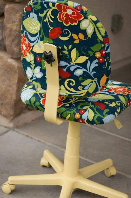 Colorful Office Chair Makeover...I'm doing this. I hate office furniture.