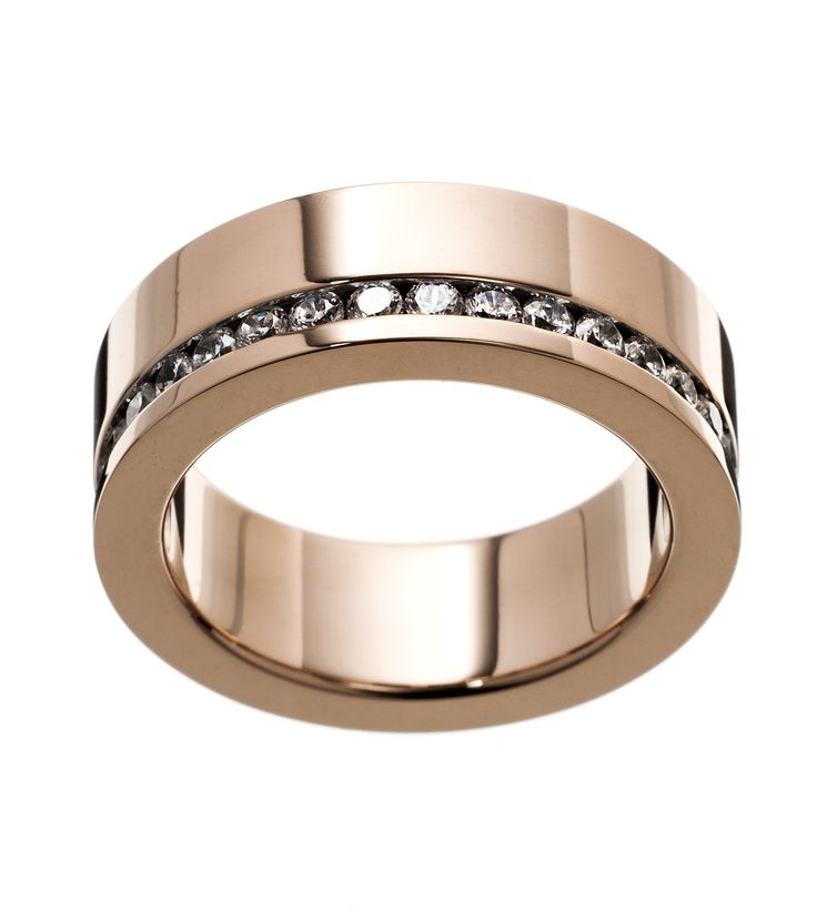 """""""Malin"""" ring from Edblad - In polished stainless steel. Row with clear cubic zirconia around the entire ring. One side is flat to better fit against other rings. Nickel free."""