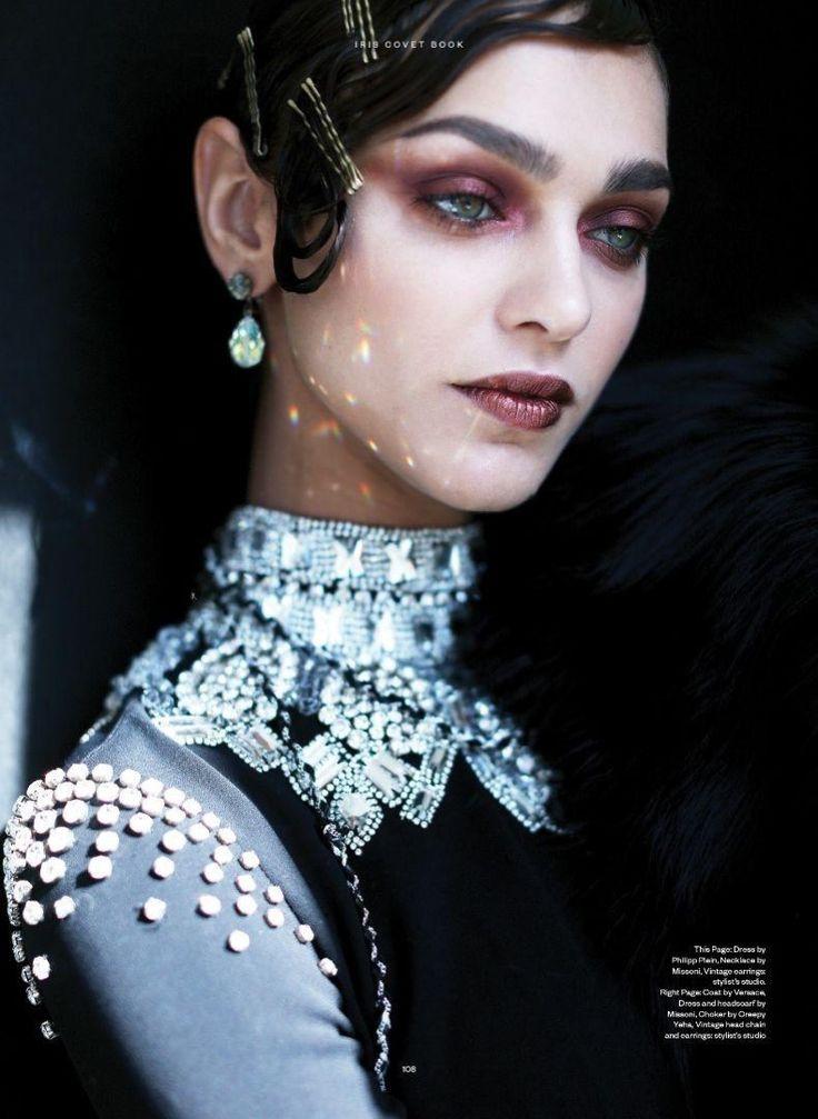 Model Zhenya Katava wears Philipp Plein dress with Missoni necklace for Iris Covet Book Magazine December 2016 issue