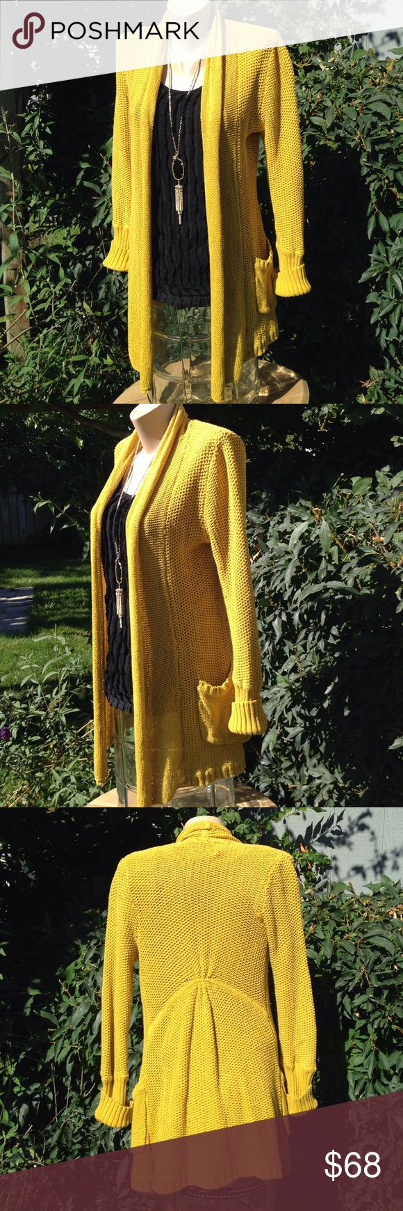 "ANTHROPOLOGIE Guinevere Gold Cardigan Small/Medium ANTHROPOLOGIE Guinevere Gold Cardigan Medium. 84% cotton, 16% linen. Very long length looks great with leggings & riding boots for fall! 34"" length on back, 31"" length front. Fits small. SAVE WHEN YOU BUNDLE!!! Anthropologie Sweaters Cardigans"