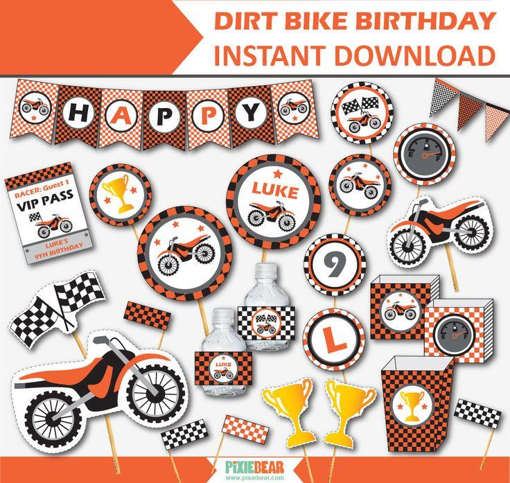 Dirt Bike Birthday Party Printables by pixiebear.com #motorcycleparty #dirtbikebirthday http://etsy.me/2Fm8Q8L