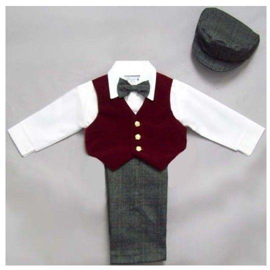 Close-Out Burgundy Vest Pants 5 - Piece Set at DapperLads