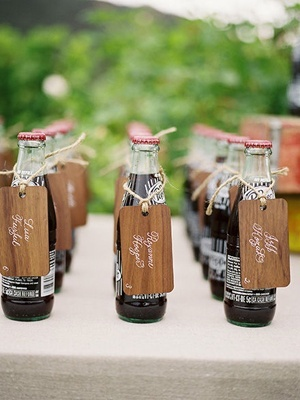 Soda bottle place cards