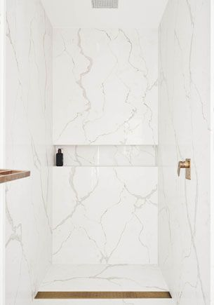 Bathroom in Smartstone Calacatta Blanco by Amber Road Design