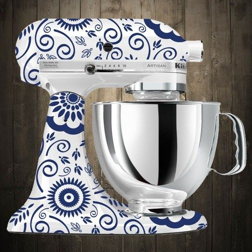 Flowers Blue Kitchen Aid Mixer Decals Home Sweet Home