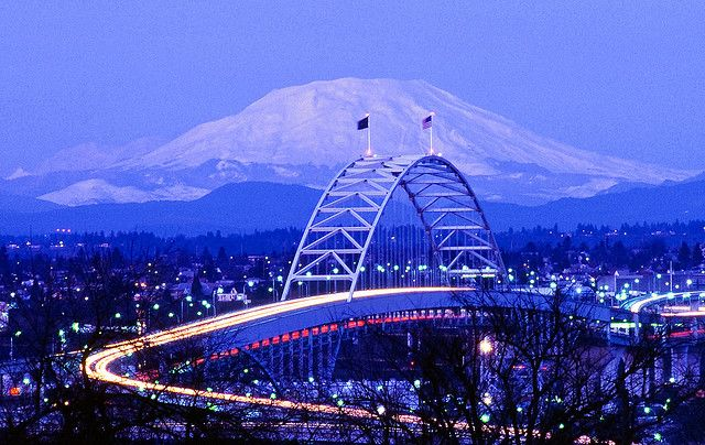 Great pic of the bridge I drive daily to and from work.   - Mount St. Helens from Portland Oregon by Keith Skelton.