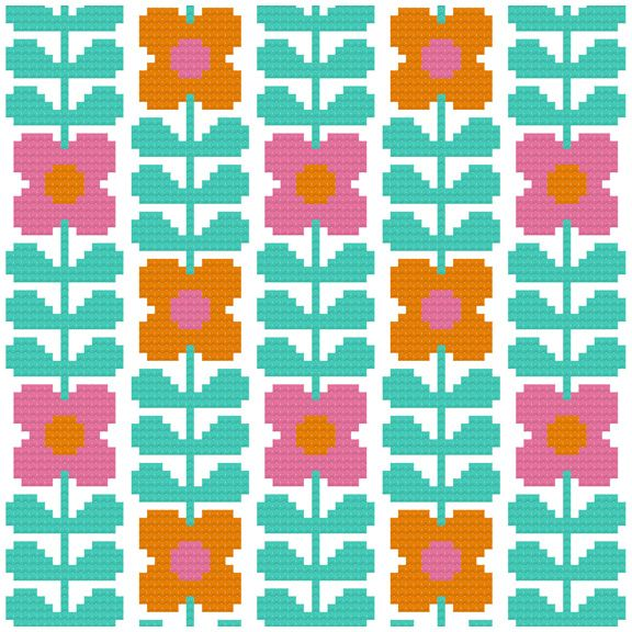 Kitschy Digitals :: Sewing & Needlework Patterns :: Wallflower Cross-Stitch Pattern