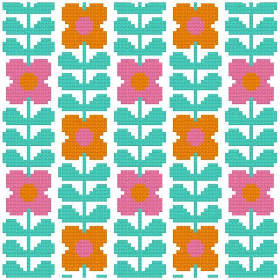 Kitschy Digitals :: Sewing & Needlework Patterns :: Wallflower Cross-Stitch Pattern