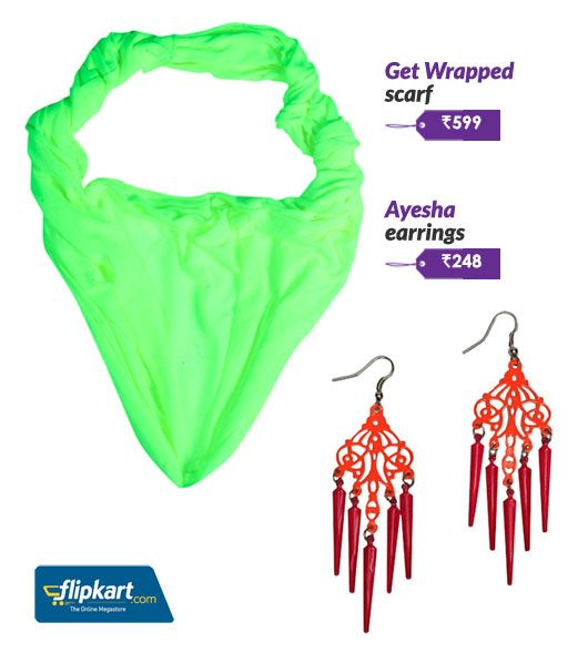 Neon scarves and earrings
