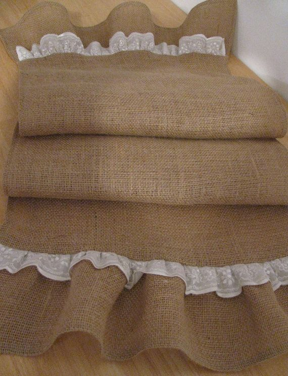 Ruffled  Natural Burlap Table Runner with Lace by supplierofdreams, $36.00