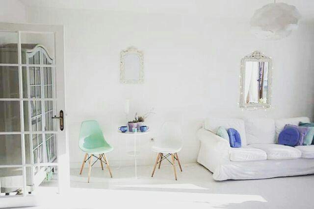 Scandinavian decor.Nordic decor. White living room.Pastel decor.Mint decor.White floors.Bright living room.