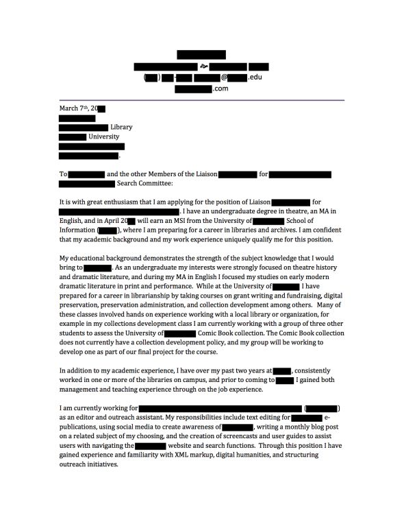 anonymous cover letters from hired librarians archivists. Resume Example. Resume CV Cover Letter
