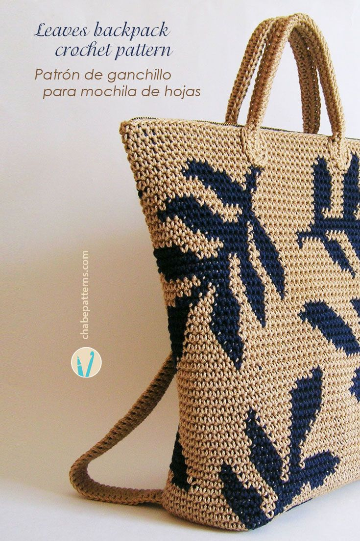 Crochet pattern for leaves backpack, charts with symbols and written instructions/ Patrón de gancho para mochila de hojas, esquemas con símbolos e instrucciones escritas by Chabepatterns