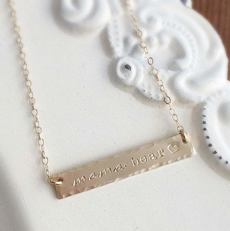 Gold-Filled Mama Bear Bar Necklace...  A perfect every day piece for you mama bears out there!
