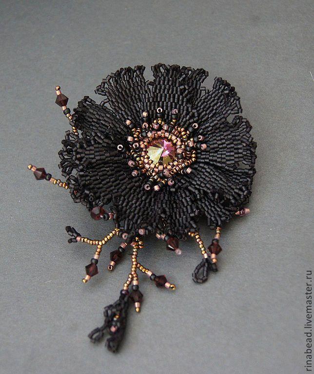 """Купить брошь """" Black Velvet"""" - чёрный, темно-лиловый, фиолетовый, брошь, цветок"""
