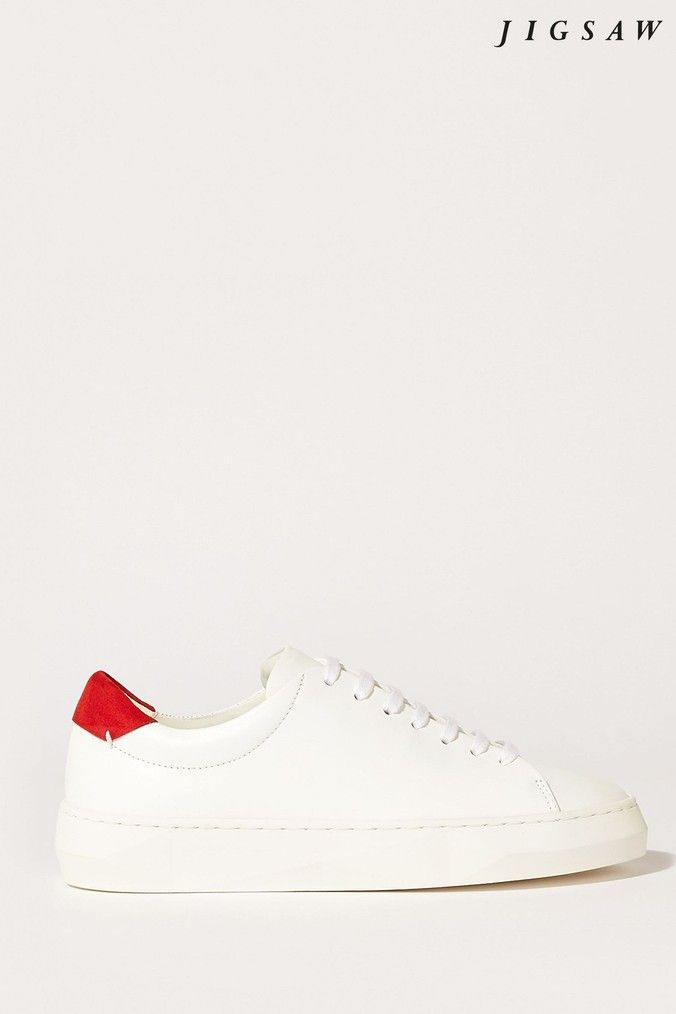 Jigsaw Red Margot Leather Trainers