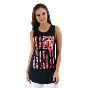 Sleeveless Rose Printed Tank Top In Black Or White ideal for casual wear and post fitness.