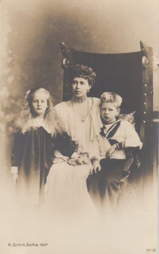 Crown Princess Marie of Romania w. sweet Pss Maria & Prince Nicholas - RARE pcd