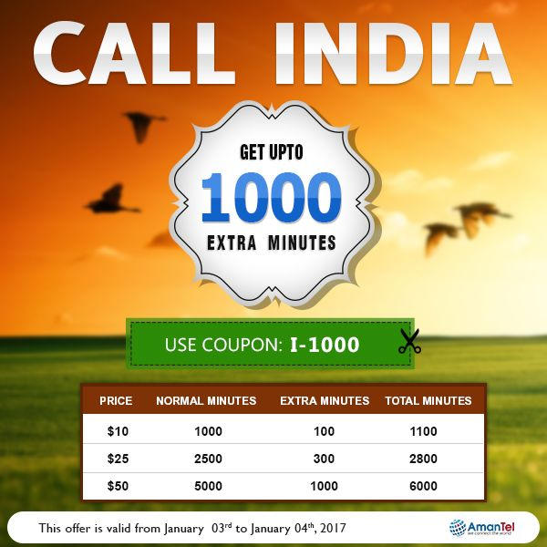 Buy Online International Calling Card to India from USA or Canada - Use Coupon Code: I-1000 and Get UPTO 1000 Extra Minutes - http://amantel.com/offers/call-india-03-Jan.html