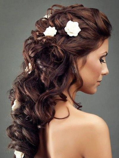 Gorgeous Long Curled Hair Pinned Back with Flower Accents