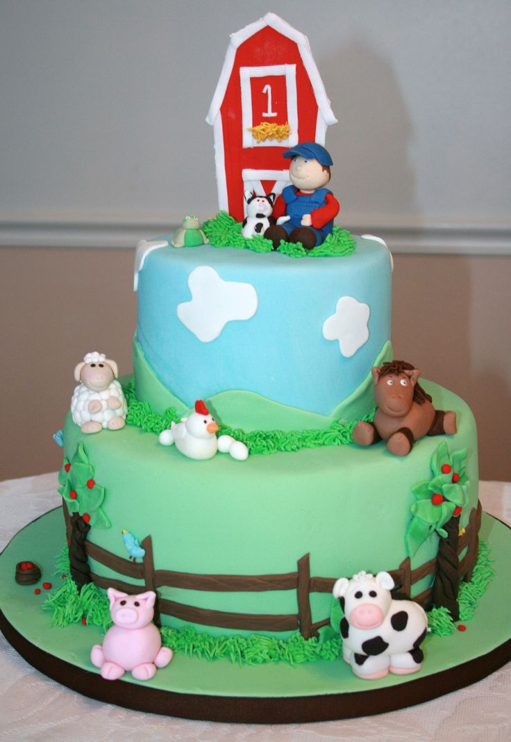 Farm Birthday - The figures are done in fondant mixed with a little tylose powder.  RI accents.