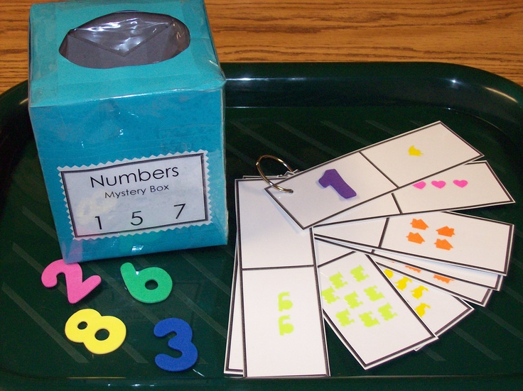 Children reach into the box to find a number. After the number has been pulled out of the box the child identifies the number and finds the corresponding counting card. (Mystery box was made by cover a Kleenex box with construction paper and place foam numbers inside. Counting ring was made with different stickers 1-10)