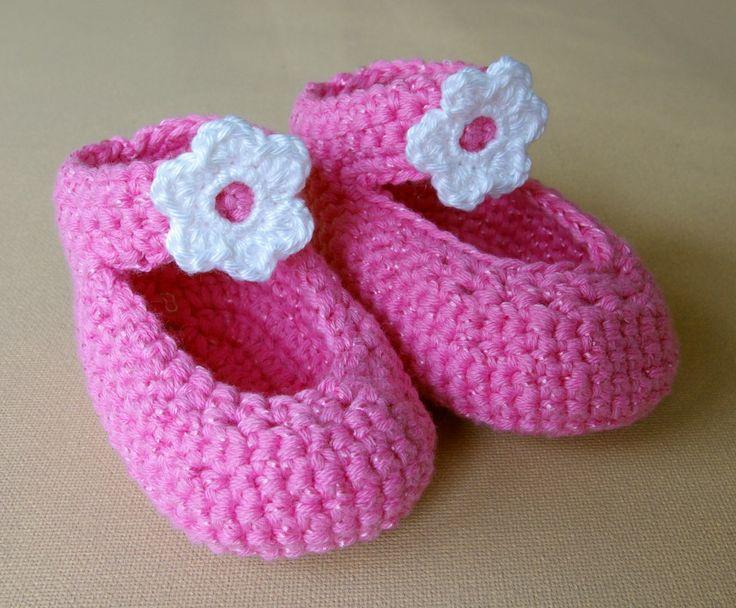 Häkeln Baby Ballerinas rosa Anleitung, nach landlust auf deutsch