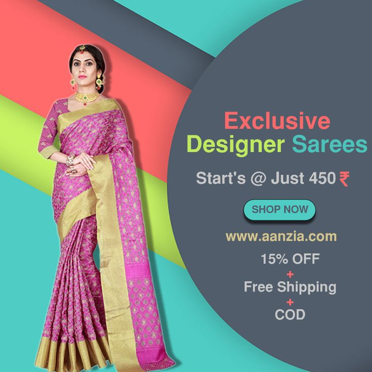 Designer sarees starting @ Just 450 INR Get Flat 15% Off + Free Shipping + Cash on Delivery Shop @ Aanzia  #indiansarees #sareesonline #designersarees #casualsarees #festive #festival #formal #wear #saris #Chiffon #Georgette #sarees #online #lowprice #sarees #freeshipping #cashondelivery #aanzia