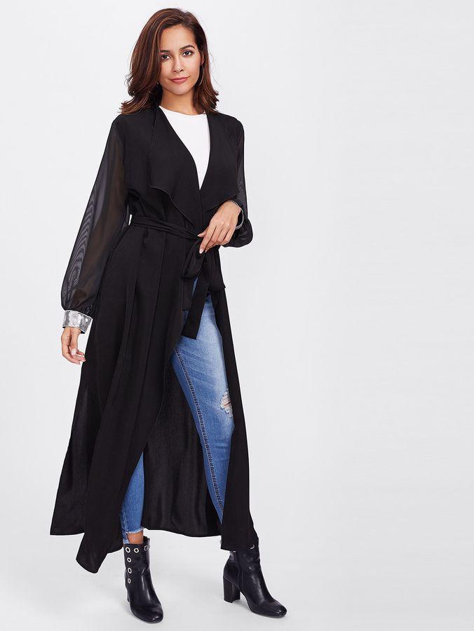 Shein Sequin Cuff Sheer Sleeve Wrap Coat