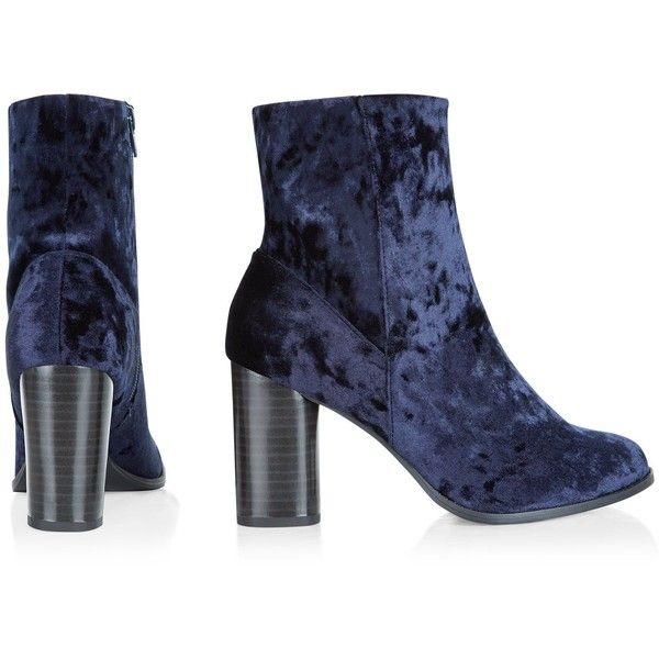 Marineblaue Ankle Boots aus Samt mit Blockabsatz ($43) ❤ liked on Polyvore featuring shoes, boots, ankle booties, ankle bootie boots, short boots, ankle boots and bootie boots