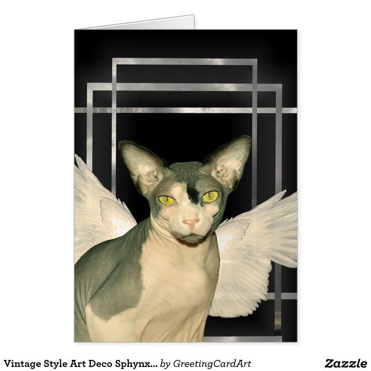 Vintage Style Art Deco Sphynx Cat Angel Card