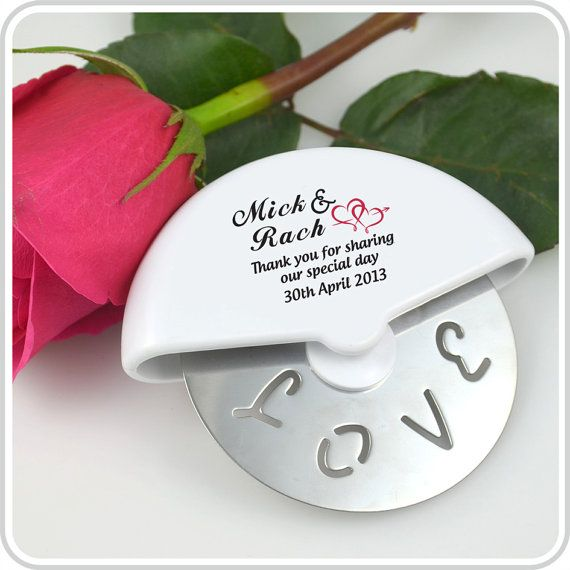 50 Printed Mini Wedding Pizza Cutter Gift by PersonalisedFavours