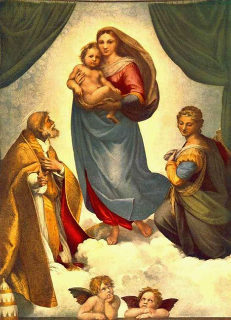 Sistine Madonna,1512, Raphael.  I like this because the tag is wagging the dog.  The best known feature of this work is the ancillary putti at the bottom.