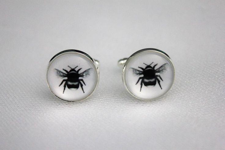 Wildlife Bumble Bee Cufflinks, Groomsmen Wedding Jewelry Gift For Him Formalwear #Handmade