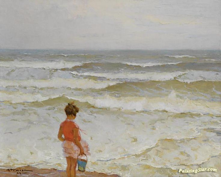 Girl by the seashore Artwork by Charles Atamian Hand-painted and Art Prints on canvas for sale,you can custom the size and frame