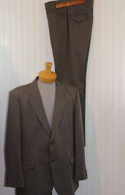 Vintage Men's Light Brown/Tan Circle S Tailored Apparel Western Suit Jacket Blazer Coat Pants Suit Size 46L Made in Usa Free Shipping