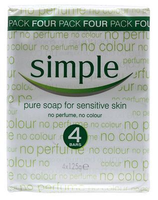Simple Pure Soap Bar for Sensitive Skin 4 x 125g 8 Advantage card points. Simple Pure Soap Bar for Sensitive Skin contains no perfume and no colour to gently cleanse skin without any irritation. FREE Delivery on orders over 45 GBP. http://www.MightGet.com/february-2017-1/simple-pure-soap-bar-for-sensitive-skin-4-x-125g.asp