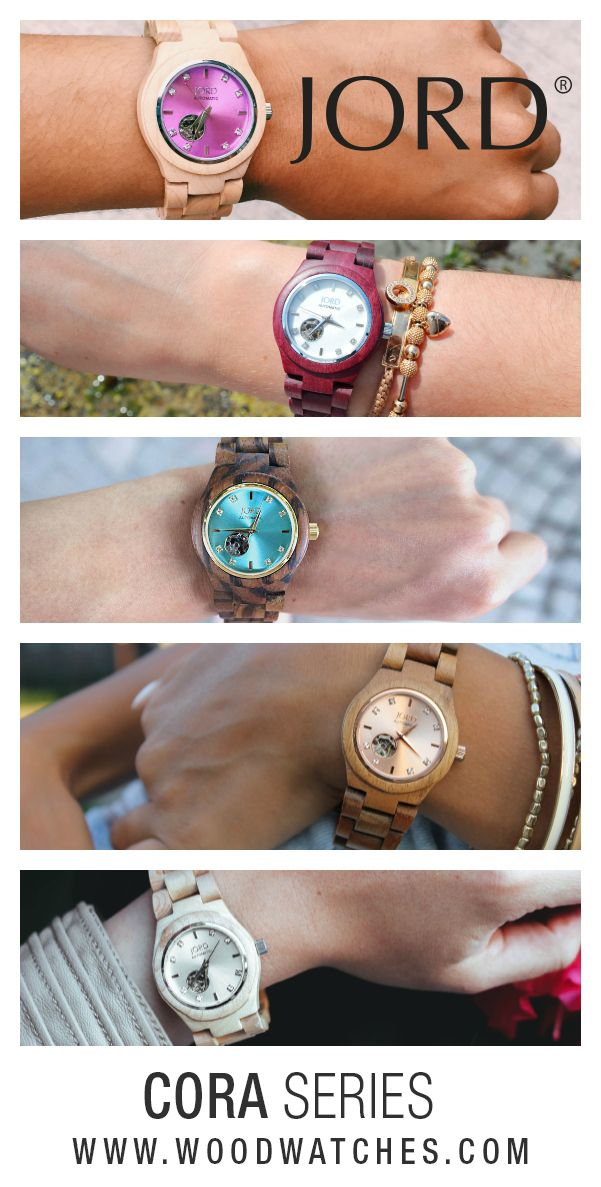 Throw your own Arm Party!   The automatic Cora series features a petite face, crystal markers, apeture dial with sapphire crystal, and skeleton back. Candy colored faces and richly grained  100% natural wood, YOUR Jord wood watch