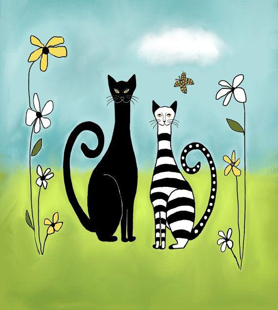 Perfect Day - Cat Illustration - Digital Painting - Summer - Kittens - Folk Art by MyDifferentStrokes, $30.00