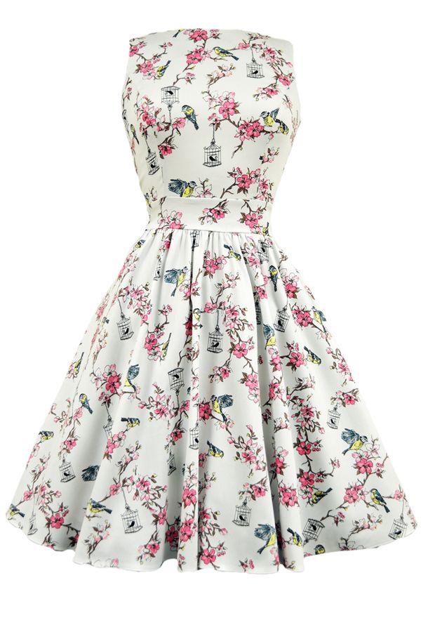 Cream Birdcage Print Tea Dress : Lady Vintage