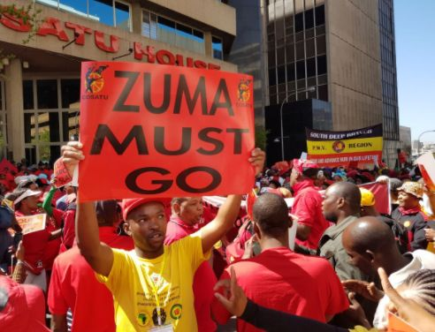 ZUMA MUST GO : South African union workers protest against Jacob Zuma  Thousands of workers from South Africa's largest trade union federation, Cosatu marched against corruption throughout the country.  The country's leadership has been engulfed by allegations of corruption and business interests have undue influence on government officials for dodgy contracts.  Dres