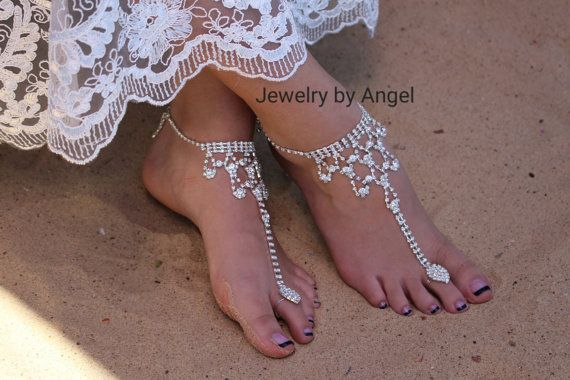 Rhinestone Wedding Foot Jewelry Barefoot by JewelrybyAngelStore