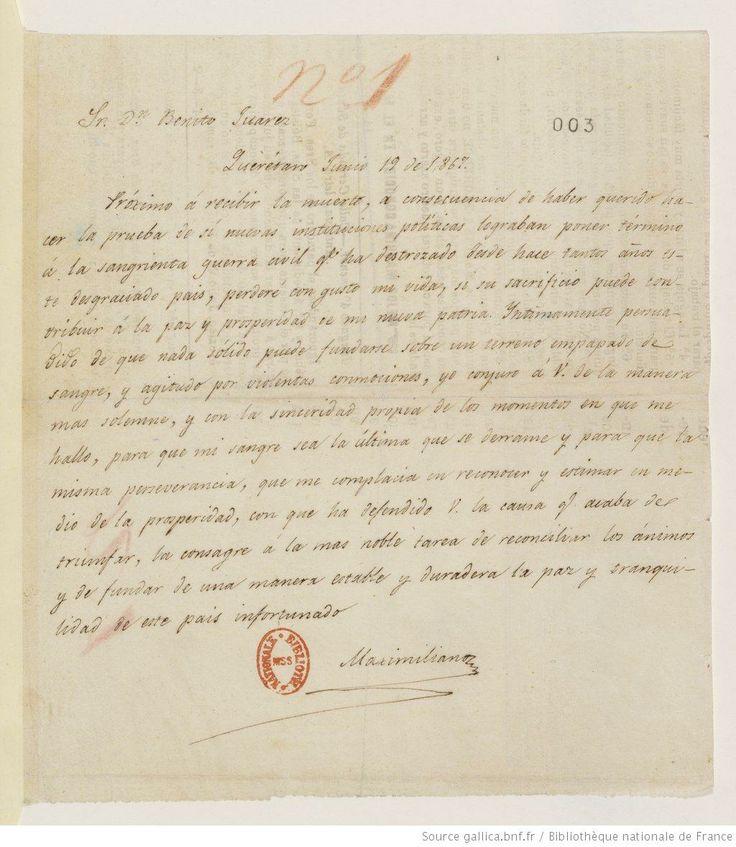 Fonds Victor Hugo. II -- ŒUVRES. Lettre de Victor Hugo à Benito Juarez, Hauteville-House.