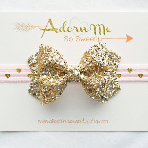 Gold Glitter bow with pink/white striped heart printed elastic // 2 sizes