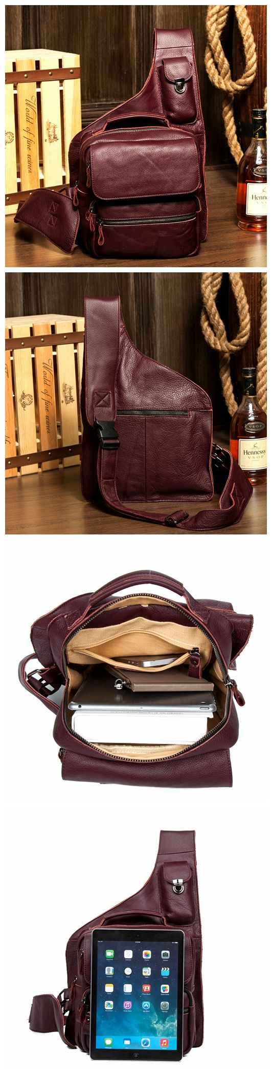 NEW LEATHER CHEST BAG, MEN'S SHOULDER BAG, CHEST BAG, GIFTS FOR MEN AND WOMEN MS049