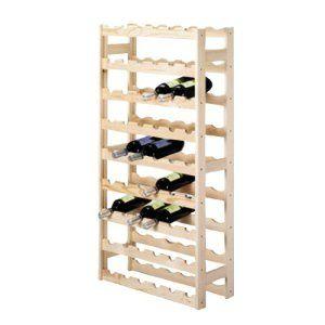 Étagère à vin / Casier à bouteilles en bois de pin CHIARA pour 54 bouteilles – H 118 x B 67,5 x P 25 cm
