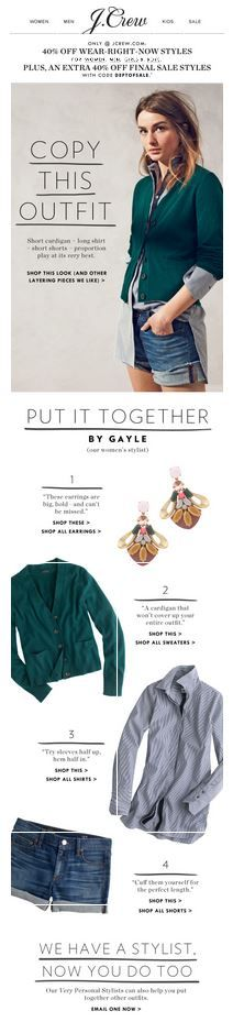 J.Crew Copy This Outfit Email Newsletter Design