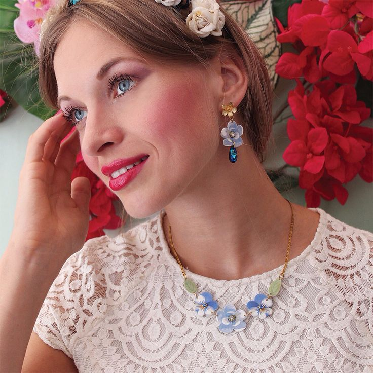 Secret Garden collection - Blue cherry blossom and violets