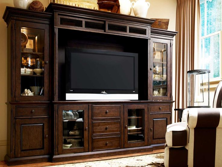 Wood Media Center With A Storage Hutch And Adjustable Shelves Includes Power Outlet Drop Front Electronics Compartment Paula Deen Home Collection